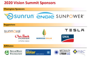 Sponsors of the 2020 IREC Vision Summit include Sunrun, Engie, Sunpower and other clean energy leaders.