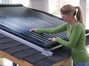Student at Calhoun Community College's Solar Thermal Program