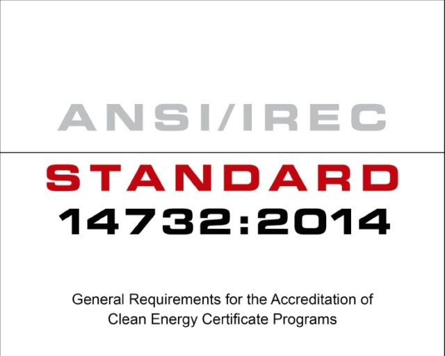 IREC Clean Energy Certificate Standard Approved by ANSI as an American National Standard