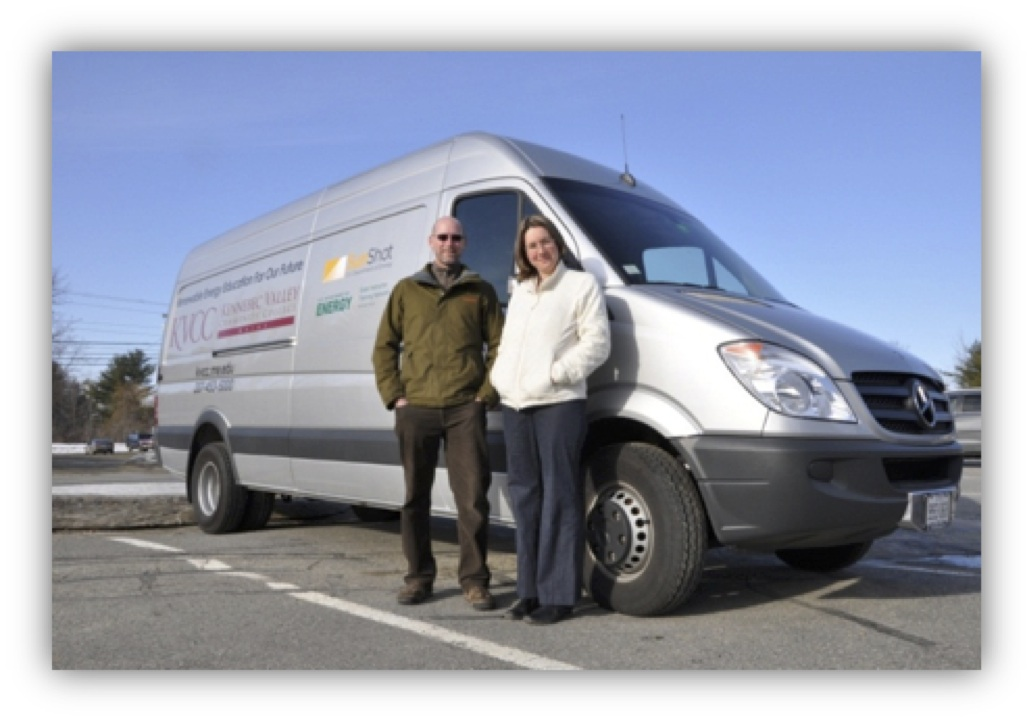 Amy Hudnor, Mike Paradis, and the KVCC mobile solar trailer and van