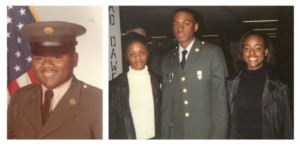 This photo of my father, Harold Scott, was taken in the '80s while he was stationed at Fort Stewart in Georgia. This is juxtaposed with a photo of me and my sisters Alishia (left) and Laconia (right) that was taken in 2000 on the day I graduated from bootcamp at Fort Jackson in South Carolina.