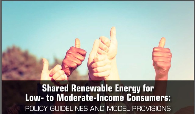 Valuable Policy Tool: Shared Renewables Guidelines & Model Rules for LMI Consumers