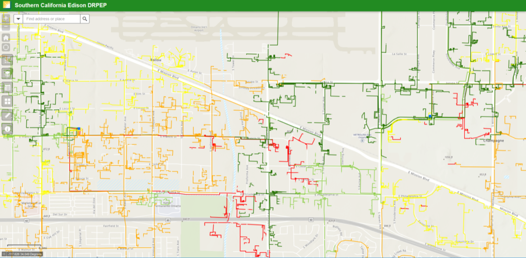 Southern California Edison Color-Code 3-Phase Lines Map