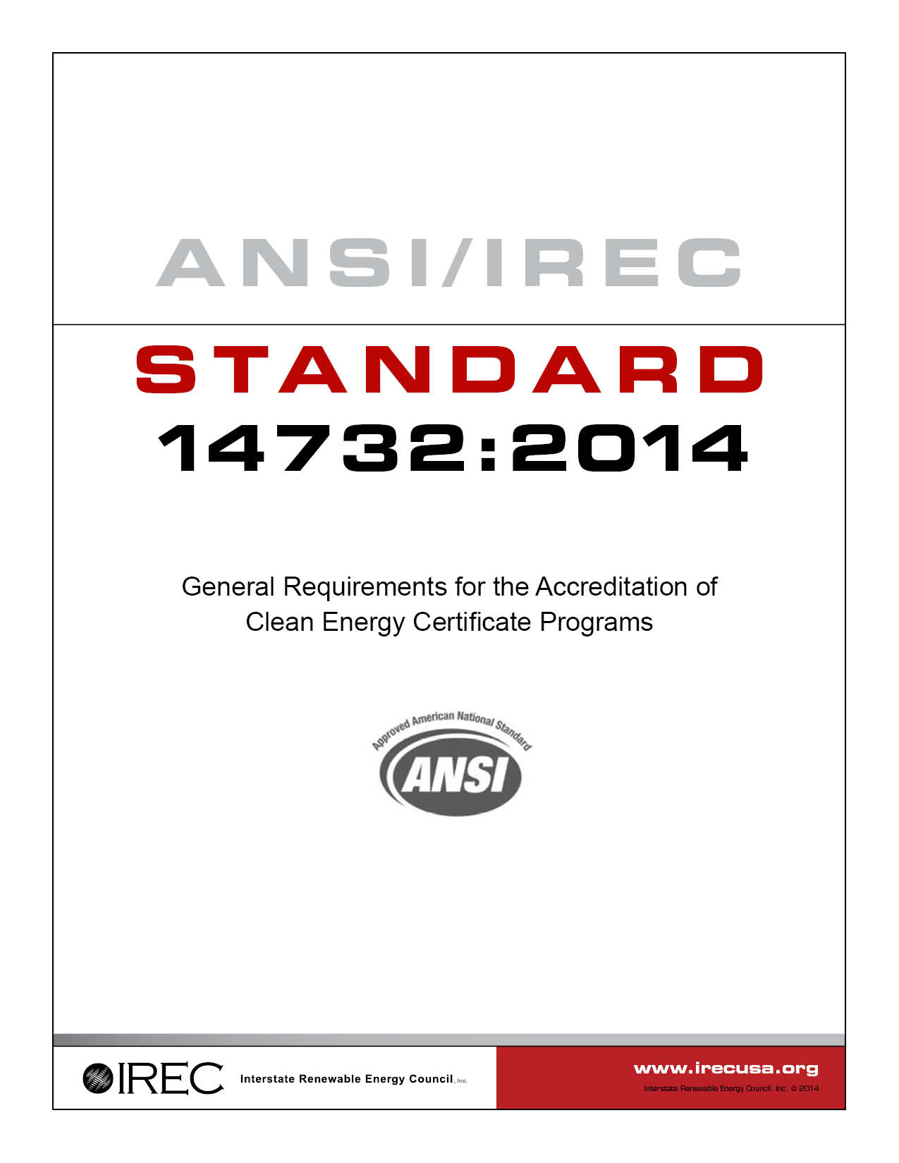 IREC Standard 14732-2014 Cover 6 19 14 LOW (2)