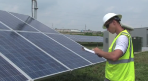 PV worker in Penn State's O&M video