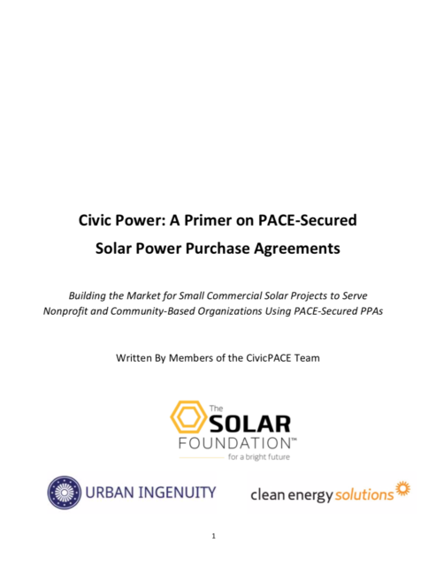 Civic Power: A Primer on PACE-Secured Solar Power Purchase Agreements