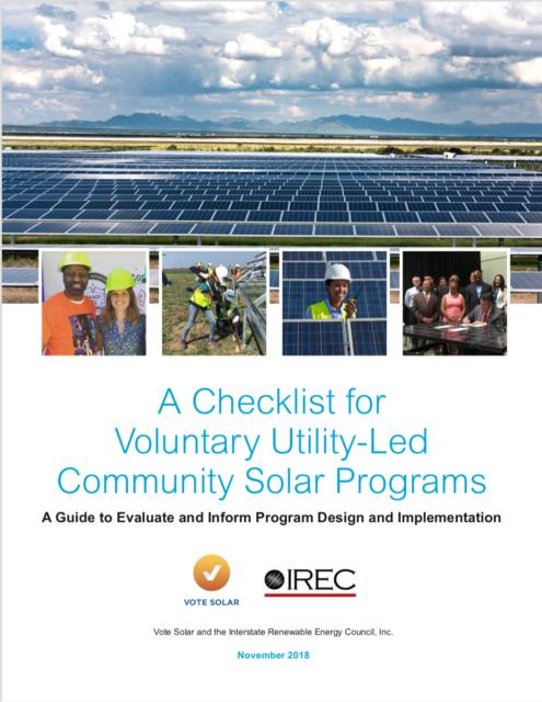 Checklist for Voluntary Utility-Led Community Solar Programs