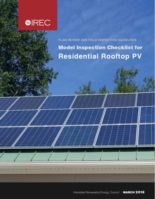Plan Review and Inspection Guidelines: Model Inspection Checklist for Residential Rooftop PV