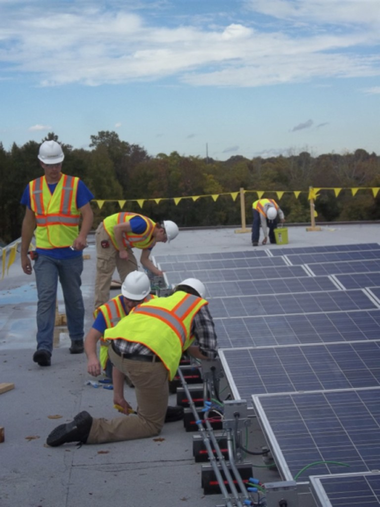 ASC Students Installing a 15kW solar PV installation at the National Arbortetum