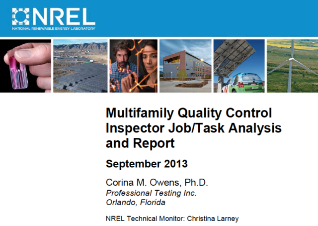 Four Job Task Analyses for Multifamily Job Classifications Accepted by IREC