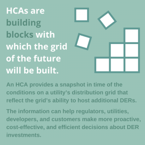 """A graphic shows an icon of building blocks over a pale green background. The headline reads """"HCAs are the building blocks with which the grid of the future will be built."""" Additional text says """"An HCA provides a snapshot in time of the conditions on a utility's distribution grid that reflect its ability to host additional DERs. The information can help regulators, utilities, developers, and customers make more proactive, cost-effective, and efficient decisions about DER investments."""